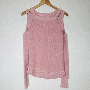{Hollister} pink cut out ribbed sweater top S